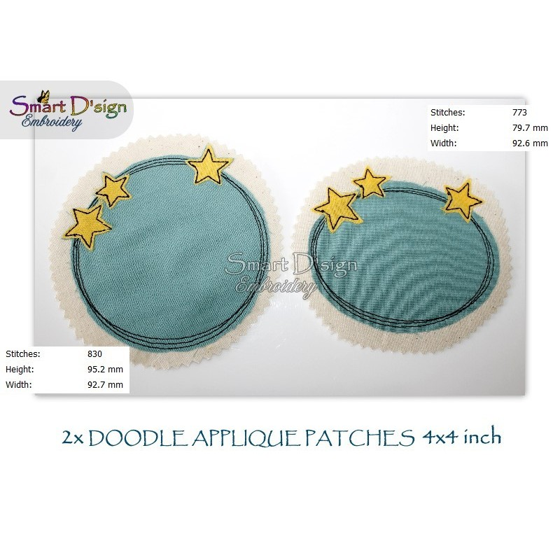 2x STARS Doodle APPLIQUE Patch 4x4 inch Machine Embroidery Design