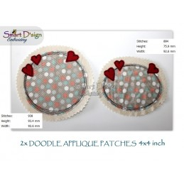 2x HEARTS Doodle APPLIQUE Patch 4x4 inch Machine Embroidery Design