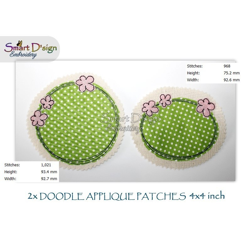 2x FLOWERS Doodle APPLIQUE Patch 4x4 inch Machine Embroidery Design