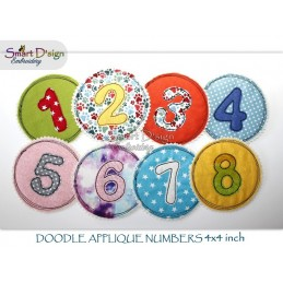 NUMBERS - DOODLE APPLIQUE 4x4 inch Machine Embroidery Design