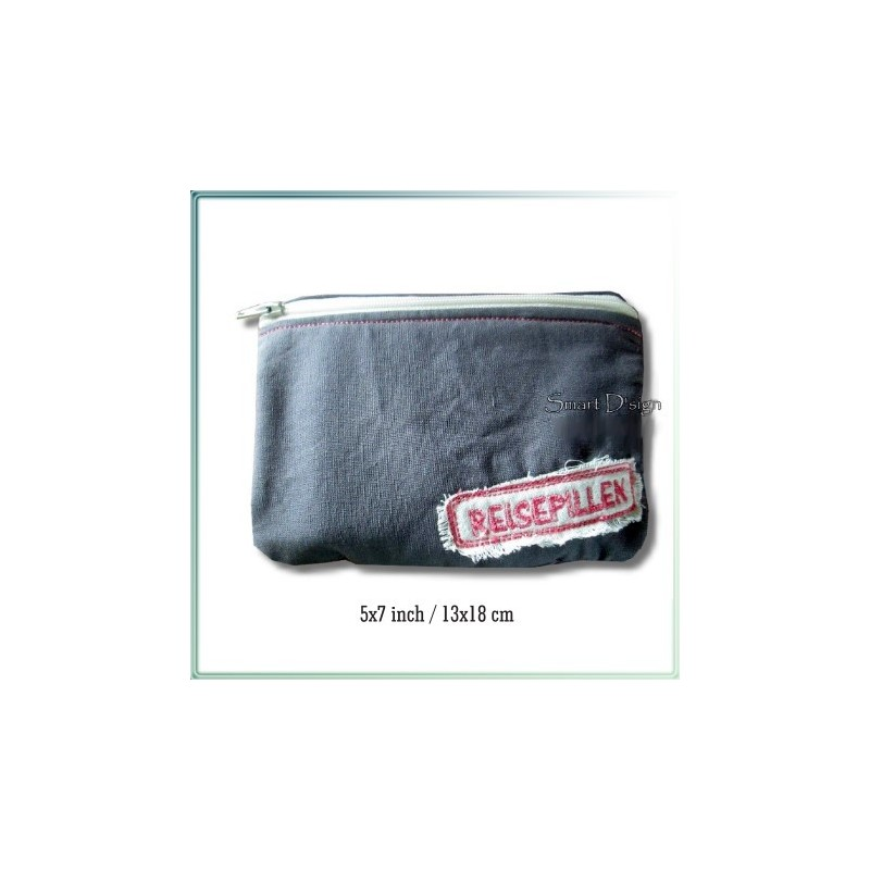 Reisepillen ITH Zipper Bag Fully Lined Machine Embroidery Design 5x7 inch