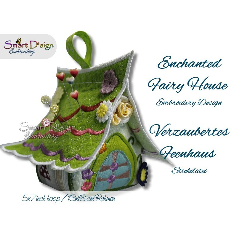 ENCHANTED FAIRY HOUSE 5x7 inch Machine Embroidery Design