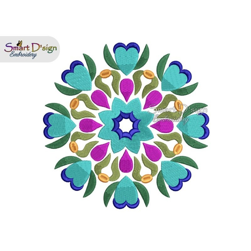 FOLKLORE FLOWER MANDALA Machine Embroidery Design