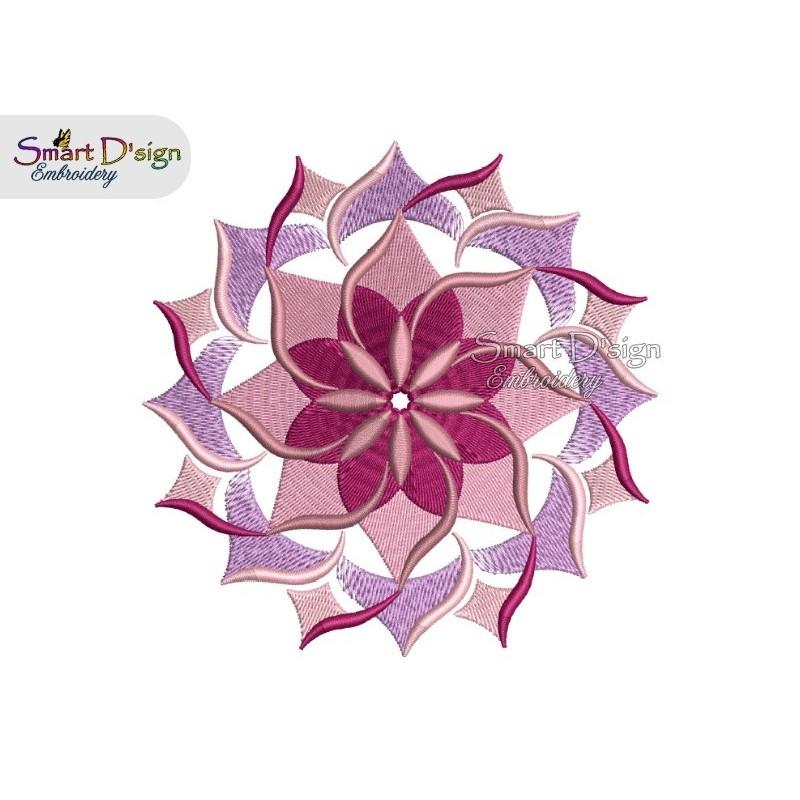 WIND WHEEL FLOWER 01 MANDALA Machine Embroidery Design