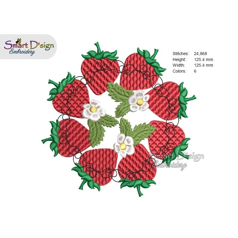 STRAWBERRY MANDALA Machine Embroidery Design