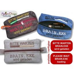 ITH PENCIL CASE BRAIN.EXE 5x7 inch Machine Embroidery Design