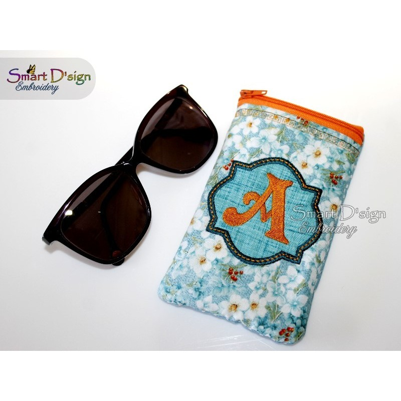 ITH EYE GLASSES CASE w. Zipper (A-Z available) 5x7 inch