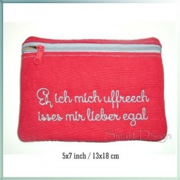 Eh ich mich uffreech ITH Zipper Bag Fully Lined