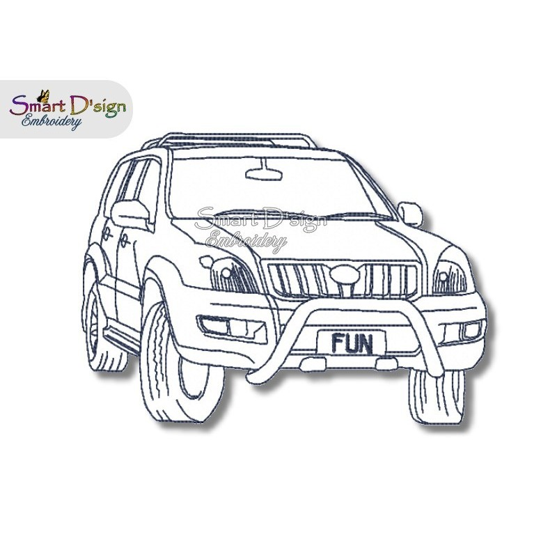 PRADO 4WD Redwork - Machine Embroidery Design