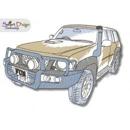 PATROL 4WD Redwork - Machine Embroidery Design