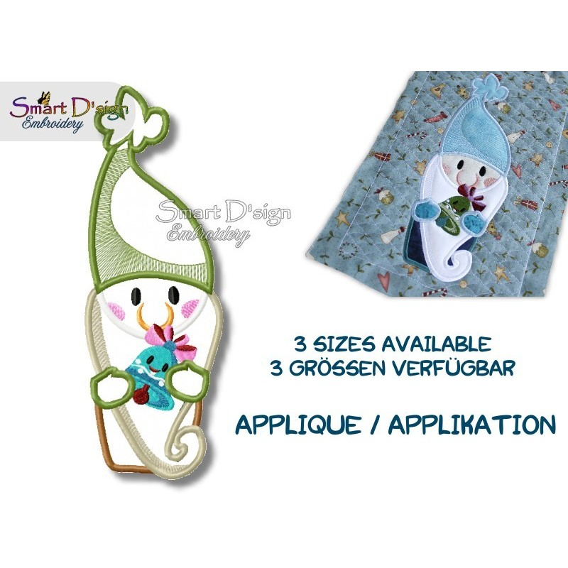 GNOME Tomte Nisse Applique Machine Embroidery Design