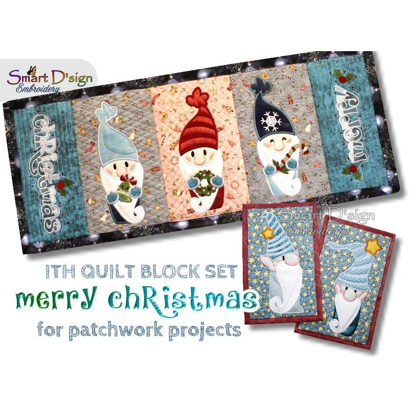 MERRY CHRISTMAS ITH Quilt Blocks 7 Motifs Machine Embroidery Design