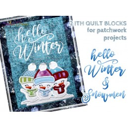 HELLO WINTER (ENG) ITH Quiltblöcke 2 Motive Stickdatei
