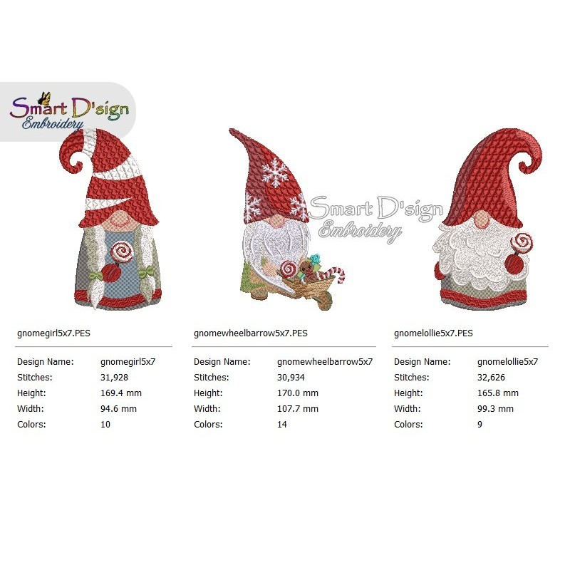 GNOMES 5x7 inch Tomte Nisse Machine Embroidery Design