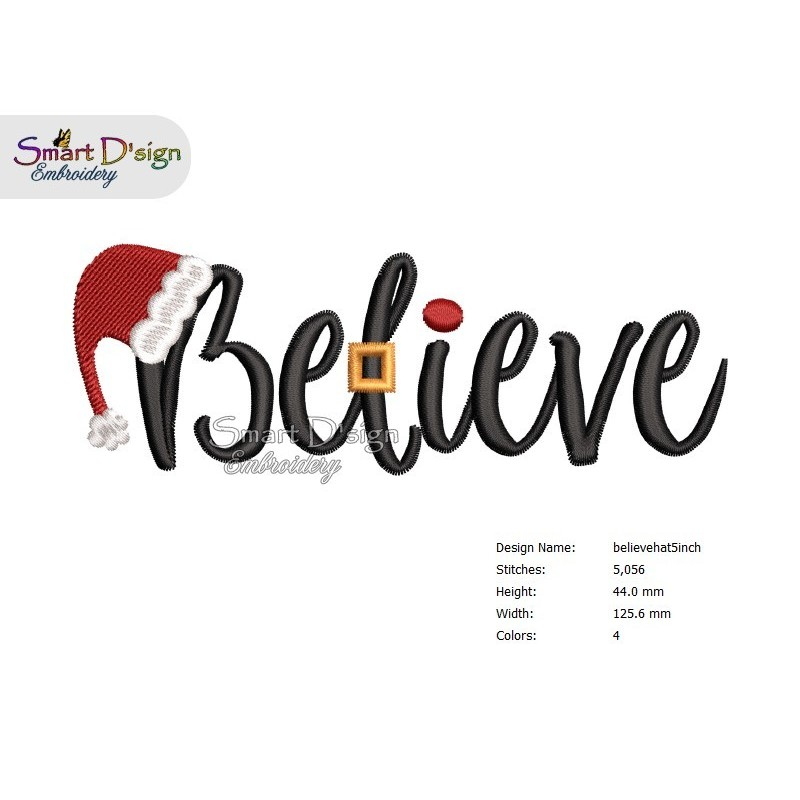BELIEVE Christmas Machine Embroidery Design