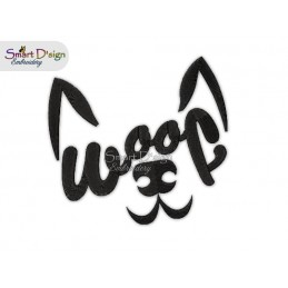 WOOF Dog Face Machine Embroidery Design