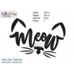 MEOW Cat Face Machine Embroidery Design