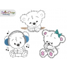 TEDDY DOODLE APPLIQUES 4x4 inch Machine Embroidery Design