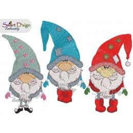Set 3 Gnome / Wichtel Stickdatei