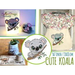 CUTE KOALA 5.2 inch Machine Embroidery Design