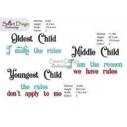YOUNGEST MIDDLE OLDEST CHILD 3x Sayings 5x7 inch Machine Embroidery Design