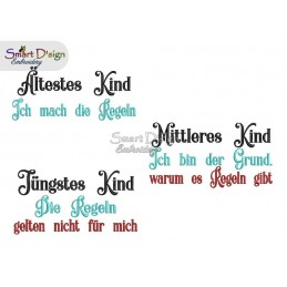 JÜNGSTES MITTLERES ÄLTESTES KIND DEUTSCH 3x Sayings 5x7 inch Machine Embroidery Design