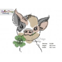 LUCKY PIG Machine Embroidery Design