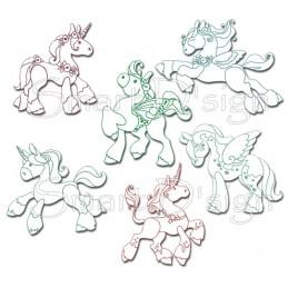 Magische Ponies 6 Redwork Motive 13x18 cm
