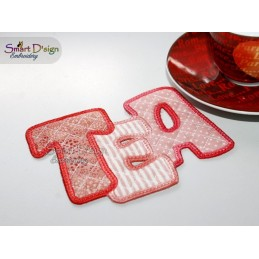 ITH TEA COSTER 13 cm Machine Embroidery Design