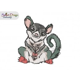 Sugar Glider Australian Baby Animal 4.75 x 4.75 inch Machine Embroidery Design
