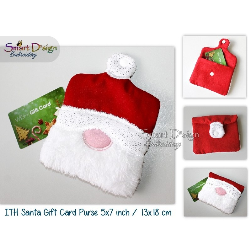 ITH Santa Gift Card Holder Small Bag 5x7 inch Machine Embroidery Design