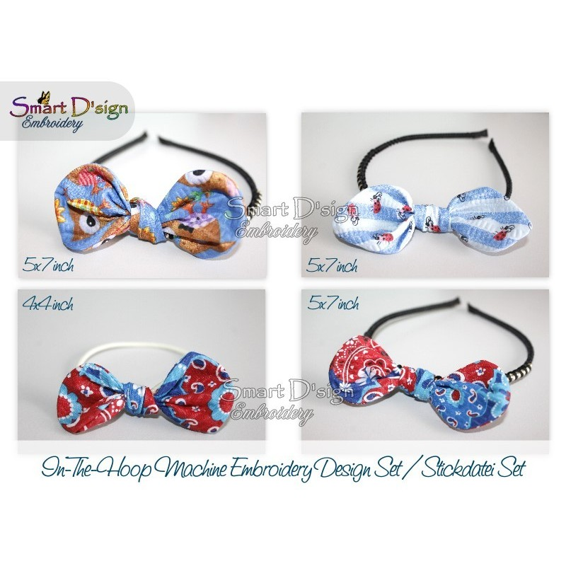 4x ITH BOWs for Hairstyling Machine Embroidery Design