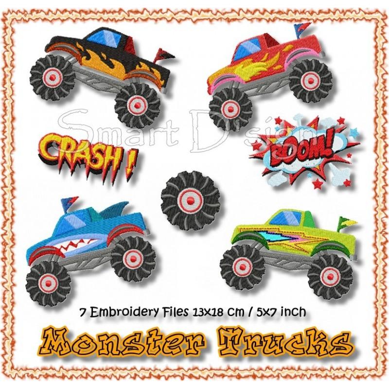 """Monster Trucks 5x7"""""""