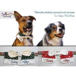 ITH Collar Bow Set Santas Helper & Blank 5x7 inch Machine Embroidery Design