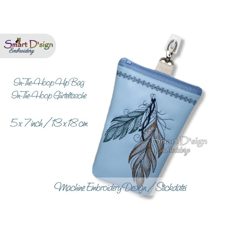 ITH Hip Bag FEATHER with Zipper and Lining 5x7 inch Machine Embroidery Design