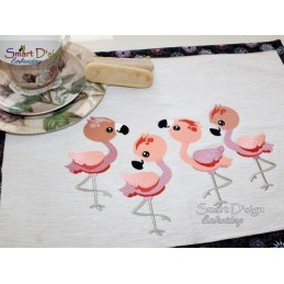 CUTE FLAMINGOS Filled Stitch Designs