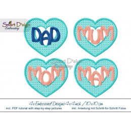 4x Embossed Hearts Set 4x4 inch