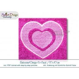 Embossed Heart in Heart 4x4 inch