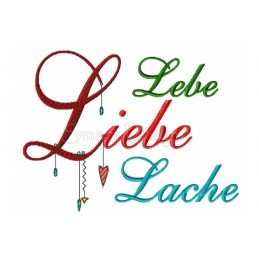 LEBE LIEBE LACHE Romantic Dangle Saying 5x7 inch
