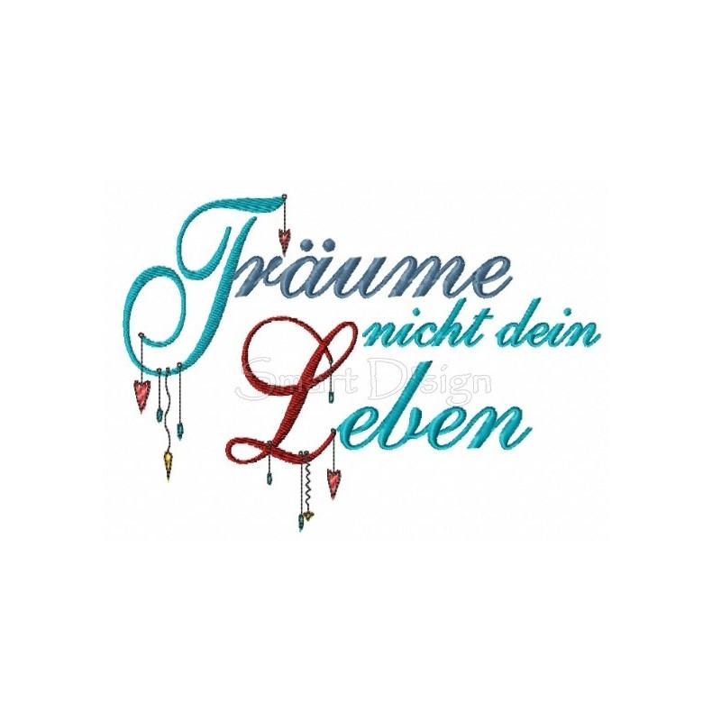 TRÄUME NICHT DEIN LEBEN Romantischer Dangle Spruch 13x18 cm