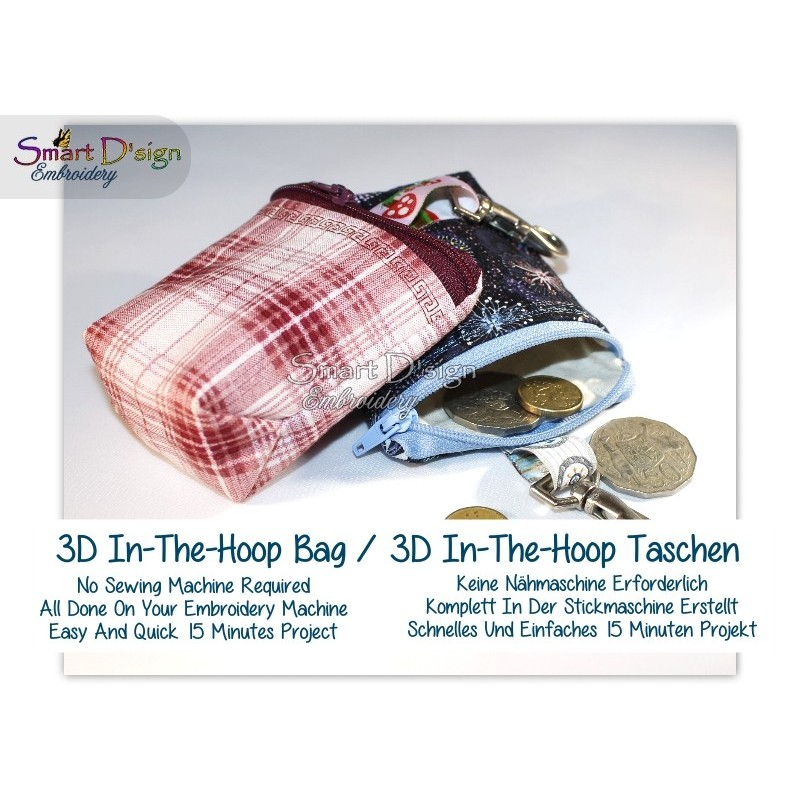 3D Quick 'n Easy Spacious ITH BAG 4x4 inch, blank Machine Embroidery Design