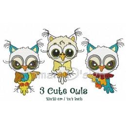 3 Cute Owls 4x4 inch