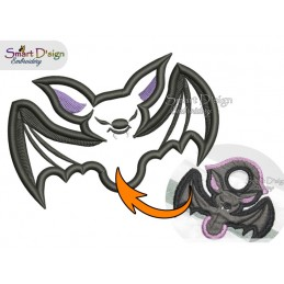 BAT Halloween Applique 4x4 inch