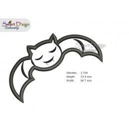BAT Halloween Applique 4x4 inch