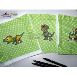 10 T-REX Raw Appliques - Colour-In Design Set
