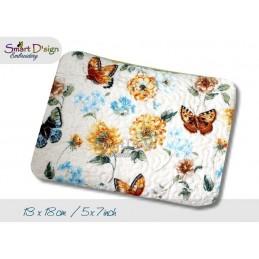 ITH Set 4x Größen Reißverschluss Quilttaschen mit Fransenapplikation Margarite In The Hoop