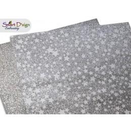 PACK 4 Sheets - SILVER STARS - Glitter Vinyl