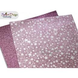 PACK 4 Sheets - PINK STARS - Glitter Vinyl
