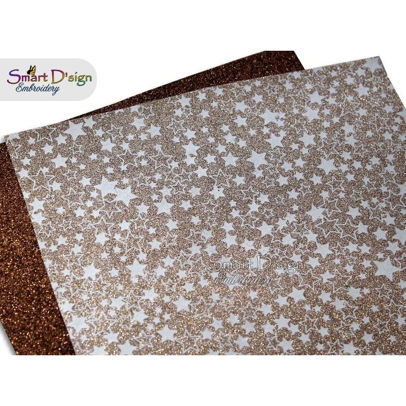 PACK 4 Sheets - GOLD STARS - Glitter Vinyl