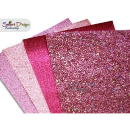 PACK 4 Sheets - BERRY PINK - Glitter Vinyl